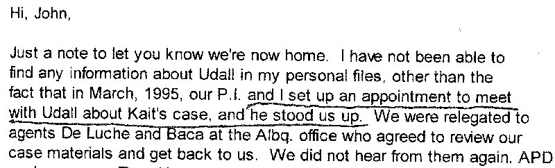 Email quote from Lois Duncan, mother of gangster-slain Kaitlyn Arquette, who New Mexico Attorney General Tom Udall stood up.